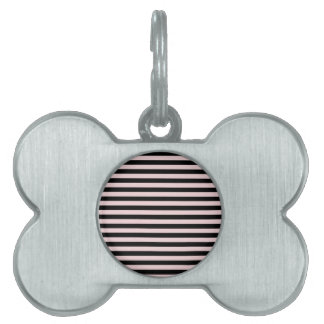 Thin Stripes - Black and Pale Pink Pet Name Tag