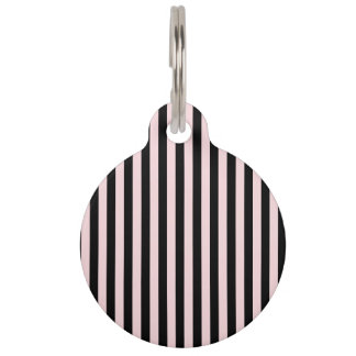 Thin Stripes - Black and Pale Pink Pet Tag