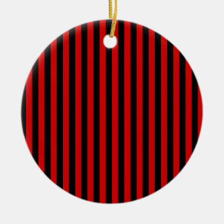 Thin Stripes - Black and Rosso Corsa Ceramic Ornament