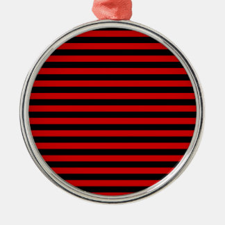 Thin Stripes - Black and Rosso Corsa Metal Ornament