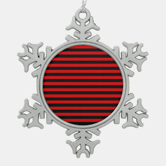 Thin Stripes - Black and Rosso Corsa Snowflake Pewter Christmas Ornament