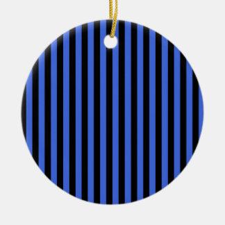 Thin Stripes - Black and Royal Blue Ceramic Ornament