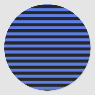 Thin Stripes - Black and Royal Blue Classic Round Sticker
