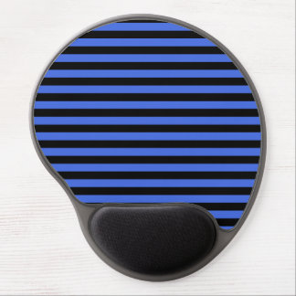Thin Stripes - Black and Royal Blue Gel Mouse Pad