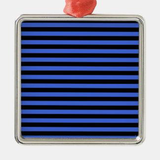 Thin Stripes - Black and Royal Blue Metal Ornament