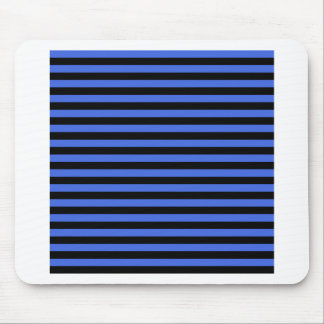 Thin Stripes - Black and Royal Blue Mouse Pad