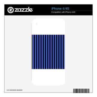 Thin Stripes - Black and Royal Blue Skin For iPhone 4S