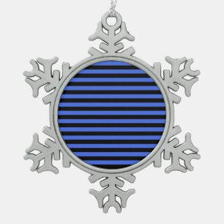 Thin Stripes - Black and Royal Blue Snowflake Pewter Christmas Ornament