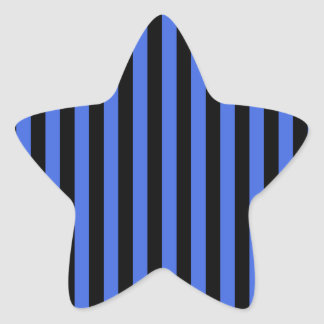 Thin Stripes - Black and Royal Blue Star Sticker