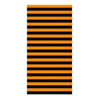 Thin Stripes - Black and Tangerine Card