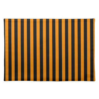 Thin Stripes - Black and Tangerine Cloth Placemat