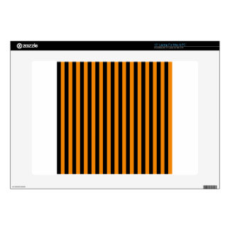 """Thin Stripes - Black and Tangerine Decals For 15"""" Laptops"""