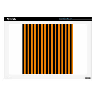 Thin Stripes - Black and Tangerine Decals For Laptops