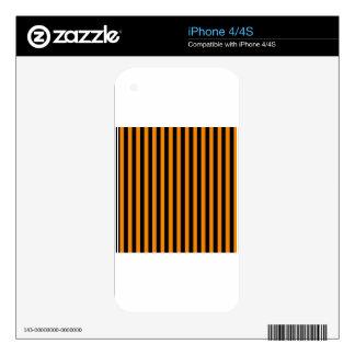 Thin Stripes - Black and Tangerine iPhone 4 Skin