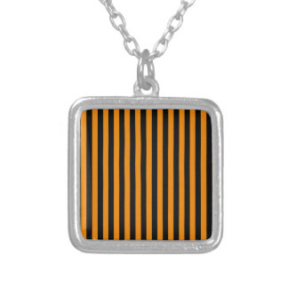 Thin Stripes - Black and Tangerine Silver Plated Necklace