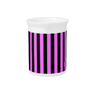 Thin Stripes - Black and Ultra Pink Beverage Pitcher