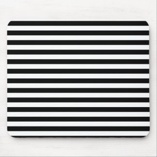 Thin Stripes - Black and White Mouse Pad