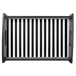 Thin Stripes - Black and White Serving Tray