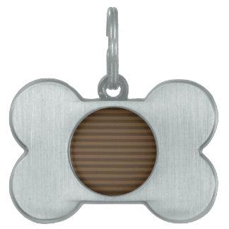 Thin Stripes - Brown and Dark Brown Pet Name Tag