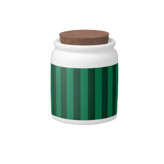 Thin Stripes - Green and Dark Green Candy Jar