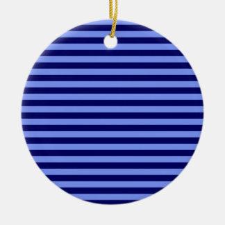 Thin Stripes - Light Blue and Dark Blue Ceramic Ornament