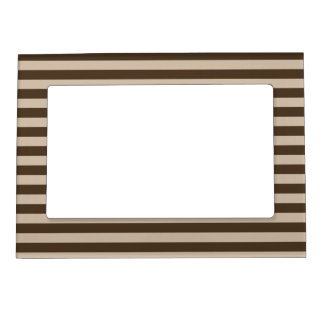Thin Stripes - Light Brown and Dark Brown Magnetic Photo Frame