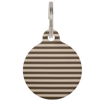 Thin Stripes - Light Brown and Dark Brown Pet Name Tag