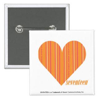 Thin Stripes Orange 3 2 Inch Square Button