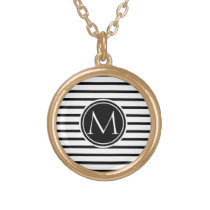Thin Stripes Pattern Gold Finish Necklace