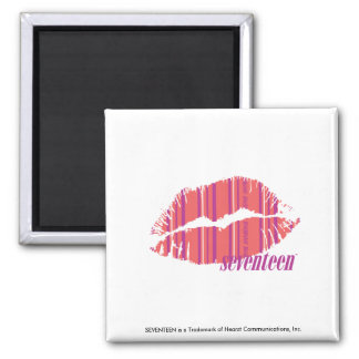 Thin Stripes Pink 2 Inch Square Magnet