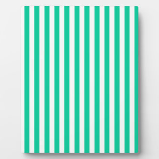 Thin Stripes - White and Caribbean Green Plaque