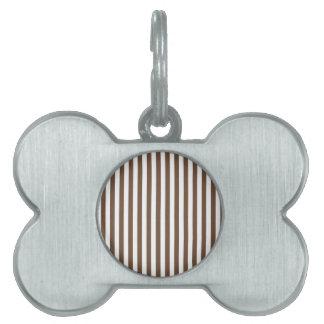 Thin Stripes - White and Coffee Pet ID Tag