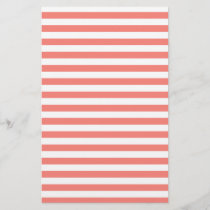 Thin Stripes - White and Coral Pink