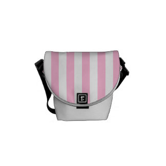 Thin Stripes - White and Cotton Candy Messenger Bag