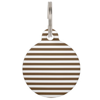 Thin Stripes - White and Dark Brown Pet ID Tag