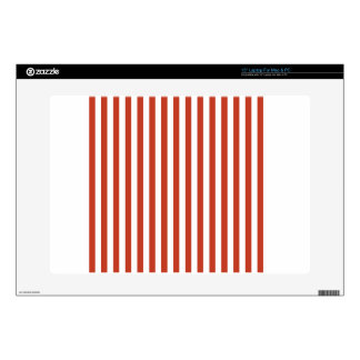 Thin Stripes - White and Dark Pastel Red Laptop Decal