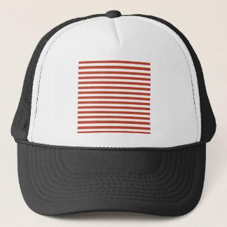 Thin Stripes - White and Dark Pastel Red Trucker Hat
