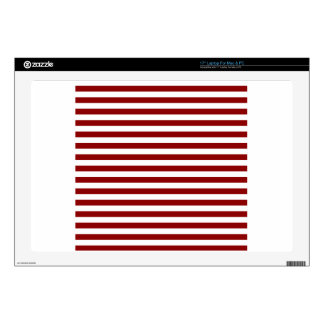 Thin Stripes - White and Dark Red Laptop Skins