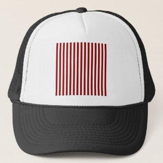 Thin Stripes - White and Dark Red Trucker Hat
