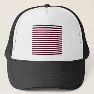 Thin Stripes - White and Dark Scarlet Trucker Hat
