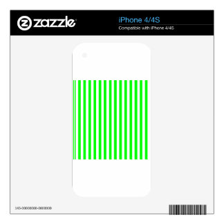 Thin Stripes - White and Electric Green Skin For iPhone 4