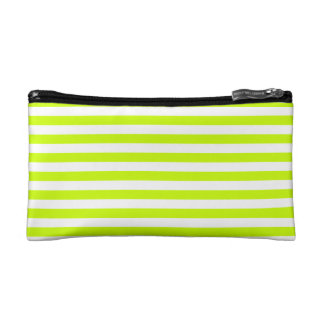 Thin Stripes - White and Fluorescent Yellow Cosmetic Bag