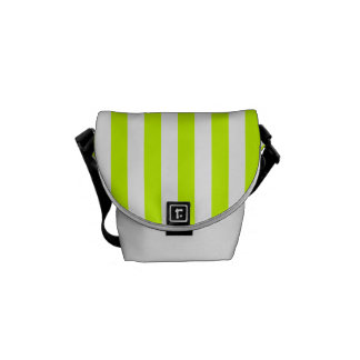 Thin Stripes - White and Fluorescent Yellow Courier Bag