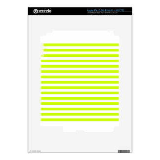 Thin Stripes - White and Fluorescent Yellow Decals For iPad 3