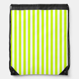 Thin Stripes - White and Fluorescent Yellow Drawstring Backpack