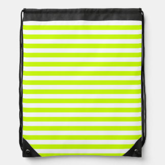 Thin Stripes - White and Fluorescent Yellow Drawstring Bag