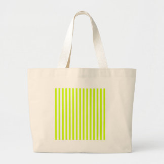 Thin Stripes - White and Fluorescent Yellow Large Tote Bag