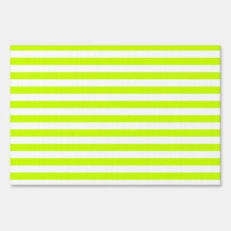 Thin Stripes - White and Fluorescent Yellow Lawn Sign
