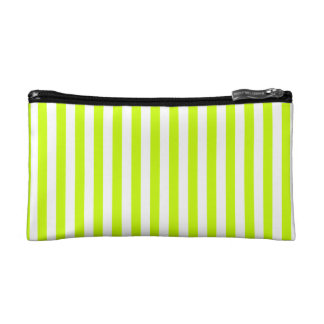 Thin Stripes - White and Fluorescent Yellow Makeup Bag