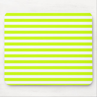 Thin Stripes - White and Fluorescent Yellow Mouse Pad